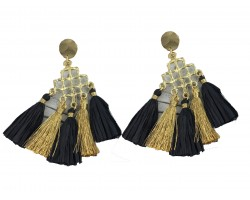 Black Gold Diamond Tassel Post Earrings