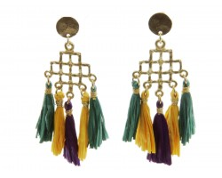 Mardi Gras Diamond Tassel Post Earrings