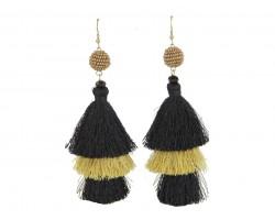 Black Gold 3 Tier Tassel Post Earrings