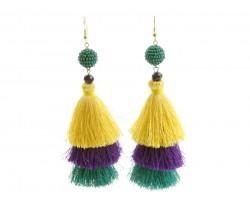 Mardi Gras 3 Tier Tassel Post Earrings