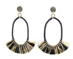 Black Gold Oval Tassel Post Earrings