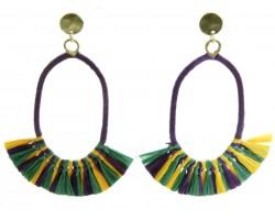Mardi Gras Oval Tassel Post Earrings