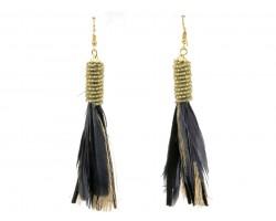 Black Gold Feather Tassel Hook Earrings