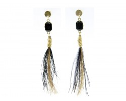 Black Gold Feather Tassel Post Earrings