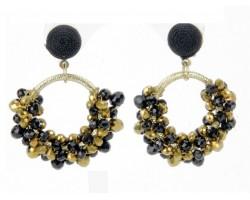 Black Gold Seed Bead Cluster Hoop Post Earrings