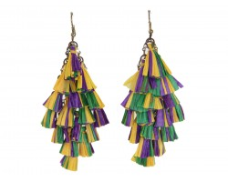 Mardi Gras Multi Mini Tassels Hook Earrings