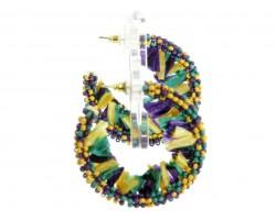 Mardi Gras Seed Bead Tassel Wrapped Hoop Earrings