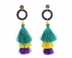 Mardi Gras Tassel Seed Bead Diamond Earrings