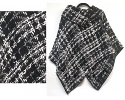Black White Plaid Button Poncho