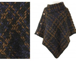 Navy Brown Plaid Button Poncho