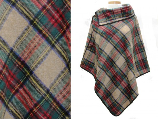 Brown Red Plaid Button Poncho