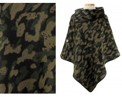 Green Dark Camo Pattern Button Poncho