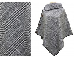 Gray Black Plaid Button Poncho