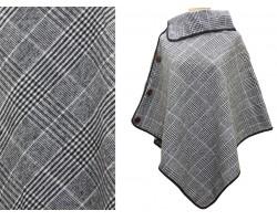 Gray Black Plaid Button Poncho