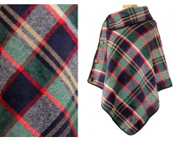 Navy Blue Browns Plaid Button Poncho