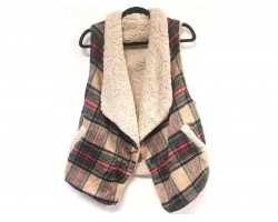 Brown Red Plaid Sleeveless Vest