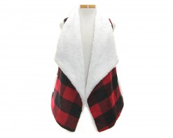 Red Black Plaid Sleeveless Vest