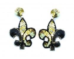 Black Gold Sequin Fleur De Lis Dangle Post Earrings