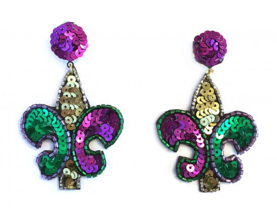 Mardi Gras Sequin Fleur De Lis Dangle Post Earrings