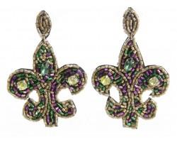 Mardi Gras Seed Bead Fleur De Lis Dangle Post Earrings