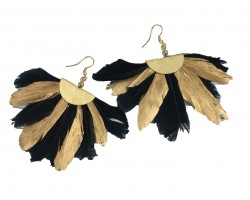 Black Gold Feather Fan Hook Earrings