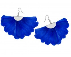 Blue Feather Fan Silver Hook Earrings