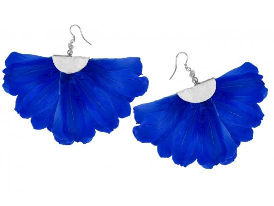 Blue Feather Fan Silver Hook Earrings