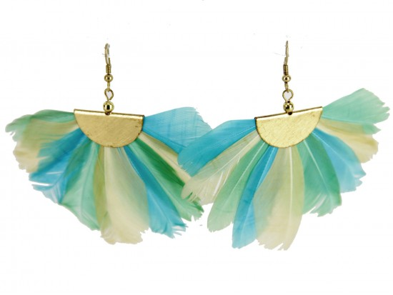 Light Multi Feather Fan Hook Earrings
