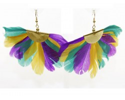 Mardi Gras Feather Fan Hook Earrings.