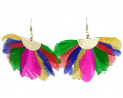 Multi Feather Fan Hook Earrings