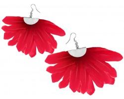 Red Feather Fan Silver Hook Earrings