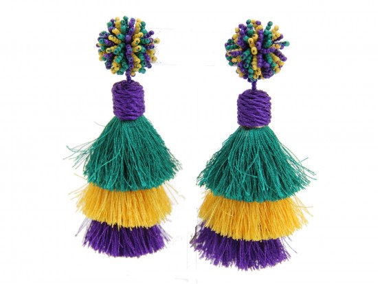 Mardi Gras 3 Tier Tassel Post Earrings