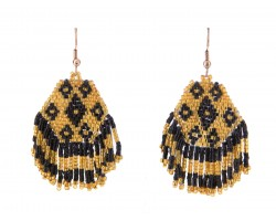 Black Gold Seed Bead Hook Earrings