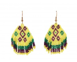 Mardi Gras Seed Bead Hook Earrings