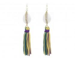 Mardi Gras Tassels Bead Hook Earrings
