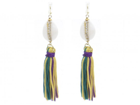 Mardi Gras Tassels Bead Hook Earrings