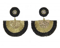 Black Gold Crescent Cloth Tassel Post Earrings