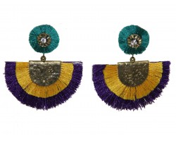 Mardi Gras Crescent Cloth Tassel Post Earrings