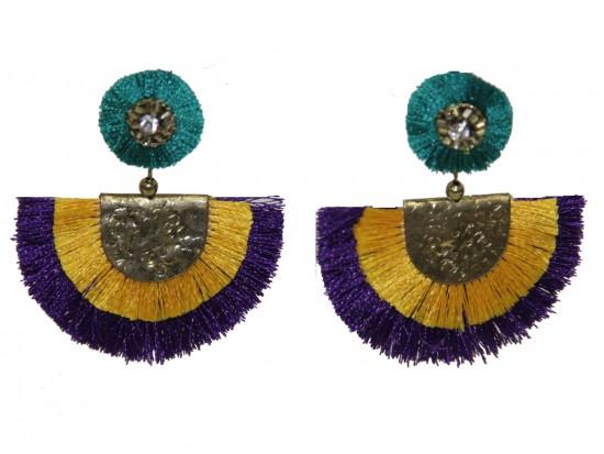 Mardi Gras Crescent Cloth Tassel Post Earrings