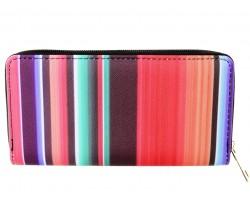 Multi Stripe Serape Pattern Vinyl Zipper Wallet