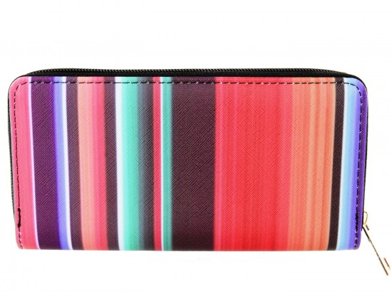 Multi Stripe Serape Pattern Vinyl Zipper Wallet