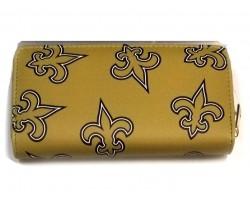 Gold Black Fleur De Lis Zipper Wallet