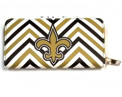 Black Gold White Chevron Fleur De Lis Zipper Wallet