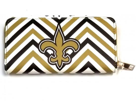 Black Gold White Chevron Fleur De Lis Zipper Wallet