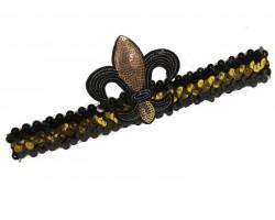 Black Gold Sequin Fleur De Lis Headband