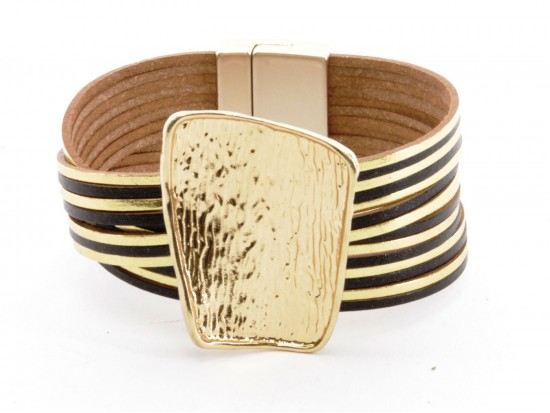 Black Gold Leather Magnetic Strap Bracelet