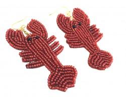 Red Seed Bead Crawfish Dangle Hook Earrings