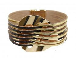 Black Gold Leather Magnetic Strap Bracelet