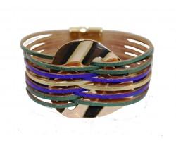 Mardi Gras Leather Magnetic Strap Bracelet