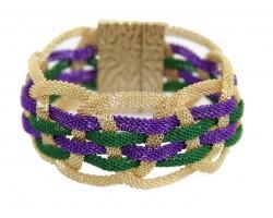 Mardi Gras Braided Mesh Magnetic Bracelet